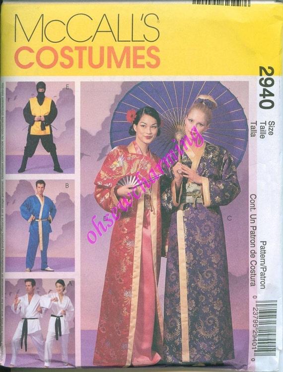 McCalls 2940 Kimono Obi Robe Womens Or Mens Sizes Large Extra Large Karate Ninja Costume