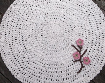 Off White Crochet Round Cotton Rug With Apple Blossom Flowers 28""