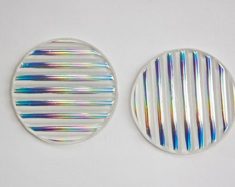 Vintage Ribbed Acrylic Cabochon with AB Silver 40mm cab298G