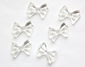 Vintage Crystal Clear Plastic Bow Beads bds262D
