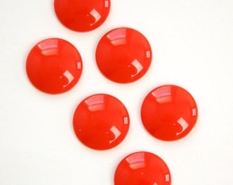 Vintage Red Acrylic Cabochons 15mm cab831C
