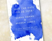 Wedding Invitation or Save the Date Design Fee (Modern Cobalt Blue Watercolor Design)