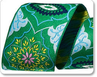 Amy Butler Emerald on Pale Blue Brocade Ribbon, 1 Yard, ON SALE