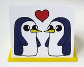 Penguin Card // Adventure Time Inspired // Gunter // Gunther // Penguin Love
