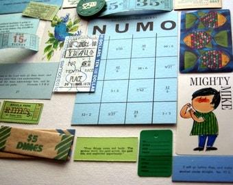 Inspiration Kit Pack, Blue Green, Bingo Card, Altered Art, Carnival Tickets, Collage, Smash Kit, Scrapbooking Kit, Supplies Lot.Sale