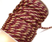 Burgundy Cord, Burgundy and Gold Braided Cord Trim 5/16 inch diameter x 3 yards, DecoPro Baroque, Autumn Leaves