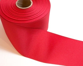 Wide Red Ribbon, Red Grosgrain Ribbon 3 inches wide x 3 yards