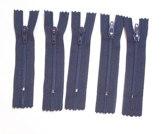 Blue Zippers, Navy Blue YKK Zippers 3 inch Set of 5, Bulk Zippers, 3 Inch Zippers