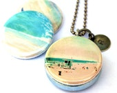 Beach Locket Necklace - Vacation Necklace California Ocean Surfer Stamped Custom Locket Magnetic Jewelry by Polarity and Myan Soffia