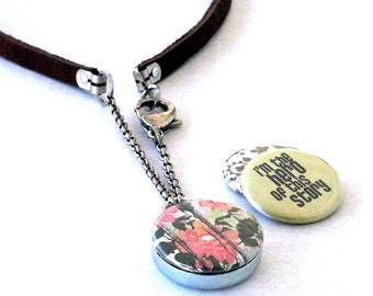 Hero Survivor Locket Necklace, Magnetic Necklace, Leather Strap Necklace, Interchangeable by Polarity