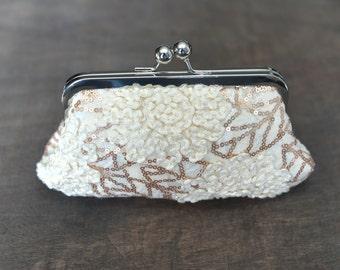 Cream Sequin Clutch