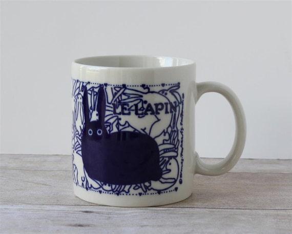 Taylor and NG Blue Le Lapin Mug / Bunny Bunnies Rabbit Coffee Cup