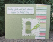 Blowing Good Luck Your Way. St. Patty's Day Handmade Card. Green. Bubbles. Fun.