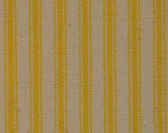 Ticking Material | Ticking Fabric | Stripe Material | Pillow Ticking | Vintage Look Ticking | Sun Yellow Ticking Fabric |  30 x 44