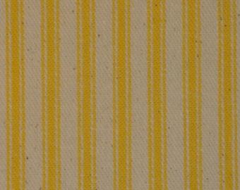 Ticking Material | Ticking Fabric | Stripe Material | Pillow Ticking | Vintage Look Ticking | Sun Yellow Ticking Fabric |  1 Yard