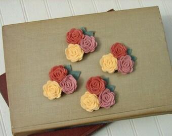 Wool Felt Flowers - Mini Posies Trio Cottage Garden - The Original Wool Felt Posies