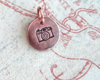 Old School Camera .. Little Photography Charm .. Customize Monograms, Initials, Cute, Sweetheart .. silver, copper or gold