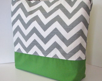 Gray Chevron tote bag . Chevron beach bag . Gray White and Green. standard size . great bridesmaid gifts . MONOGRAMMING Available