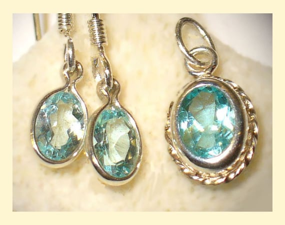 Genuine Neon Apatite in Sterling Pendant and Earrings - Natural Gems