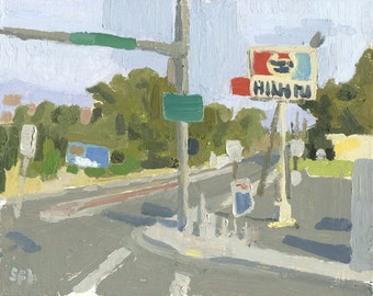 Highway 99, Talent, Oregon: Original Oil Painting Urban Plein Air Landscape