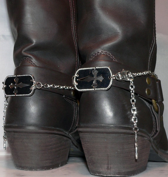 Boot Bracelet, Silver Dog Tag, Motorcycle Fashion, Cross Ankle Jewelry, Western Ankle Bracelet, Chain Jewelry, Free Shipping
