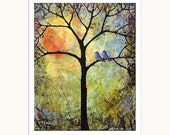 Sunshine 8X10 Art Print Tree, Bluebirds, Love Birds, Bright, Cheerful, Romantic - blendastudio