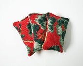 Barkcloth Balsam Sachets, Set of 3, Home Decor, Home Accent, Red, Green, Christmas Tree Scent, Upcycled, Eco Friendly