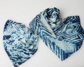 Indigo blue silk charmues scarf dyed with all natural plant extracts.