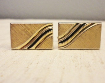 Vintage Men's  Cuff Links & Tie Tack - Gold Rectangle With Black Swirl