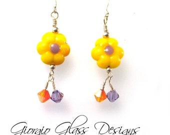 Sunflowers Lampwork Beads Earrings  SRA