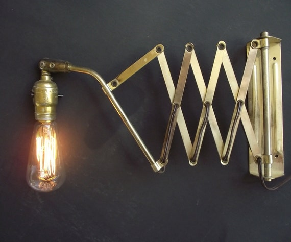 Wall Mounted Accordion Lamps : Vintage Brass Accordion Scissor Wall Lamp Industrial