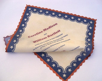 4th of July wedding invitation handkerchief, Americana, patriotic invitations, stars and stripes, red white and blue, set of 10