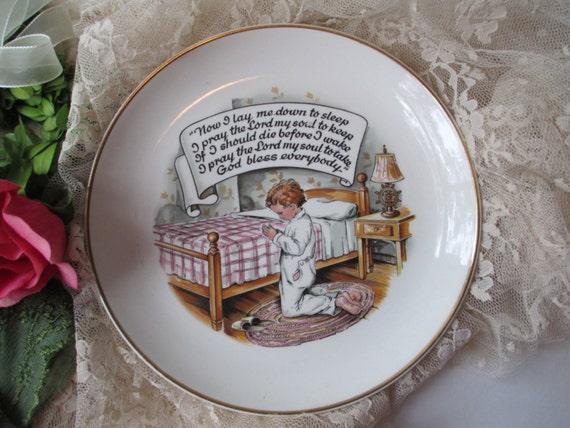 Vintage Sanders Childs Prayer Plate
