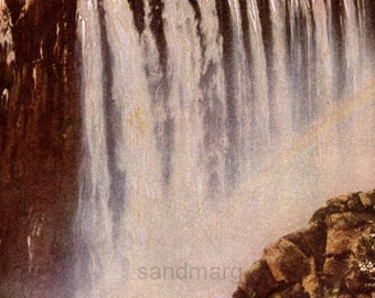 1918 Rainbow Falls  Victoria Falls  Zimbabwe  Antique Color Lithograph