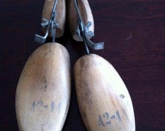 vintage PAIR wooden shoe forms circa 1900