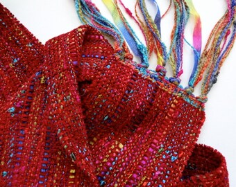 Christmas in July sale handwoven ruby red scarf