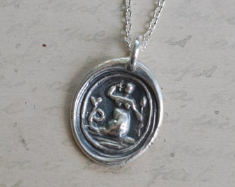 mermaid wax seal necklace pendant … eloquence, enchantment, mystery - sterling silver antique wax seal jewelry
