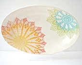 Rainbow (green, blue, yellow, orange, red) Fiesta Deep Platter - Ready to be shipped