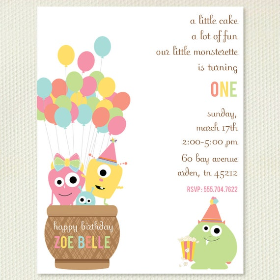 Girls Monsterette Party Invitations