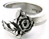 Sterling Silver Spoon Ring Size 6 - 10 Damask Rose Oneida Heirloom