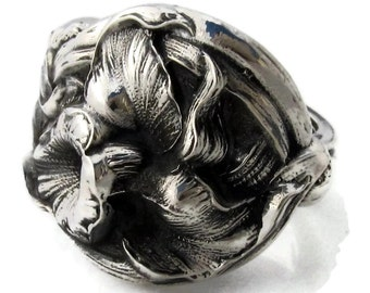 Breathtaking Orchid Spoon Ring Size 6 - 10 Solid Sterling Silver