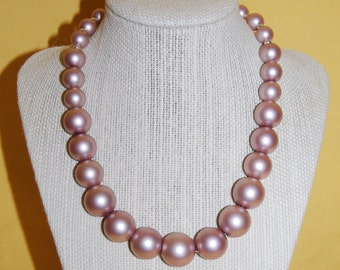 Pink Pearl Glass Bead Necklace
