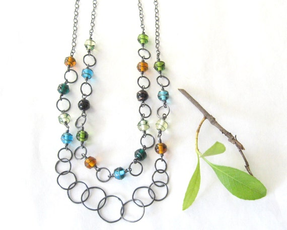 wire wrapped necklace with multi color lampwork beads, metalwork necklace, oxidized fine and sterling silver
