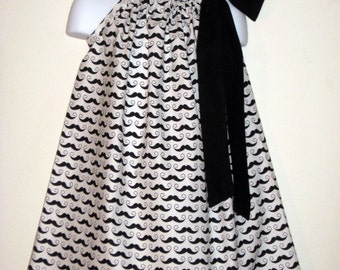 Geekly Mustaches Black and white Pillowcase Dress