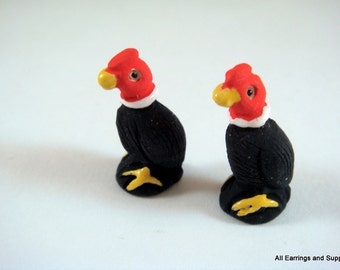 SALE - 2 Vulture Beads Animal Beads Ceramic Hand Painted Glazed 25x13mm - 2 pc - 5946-AG