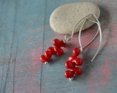 Love drops -tiny bloodred glassdrops on sterling silver hooks