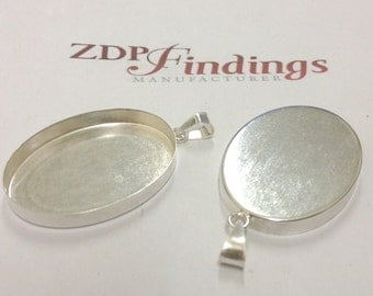 2pc Oval 40x30mm Bezel cups Setting with Bail, Sterling Silver 925 (POV4030)