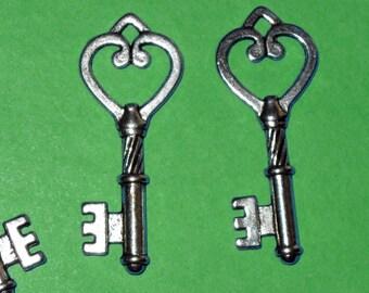 Really Ornate Heart Key Charm lot of 4