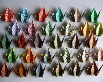 "30 Small Chiyogami Cranes - 30 Desings, 3"" (7.5 cm) Japanese Chiyogami, Origami Paper Cranes, Paper Crane Origami, Chiyogami Cranes, Kawaii"