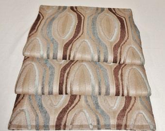 "TABLE RUNNER - Beige, Blue, Brown Oval Pattern - 53"" x 13-1/2"" - Item TR237008"